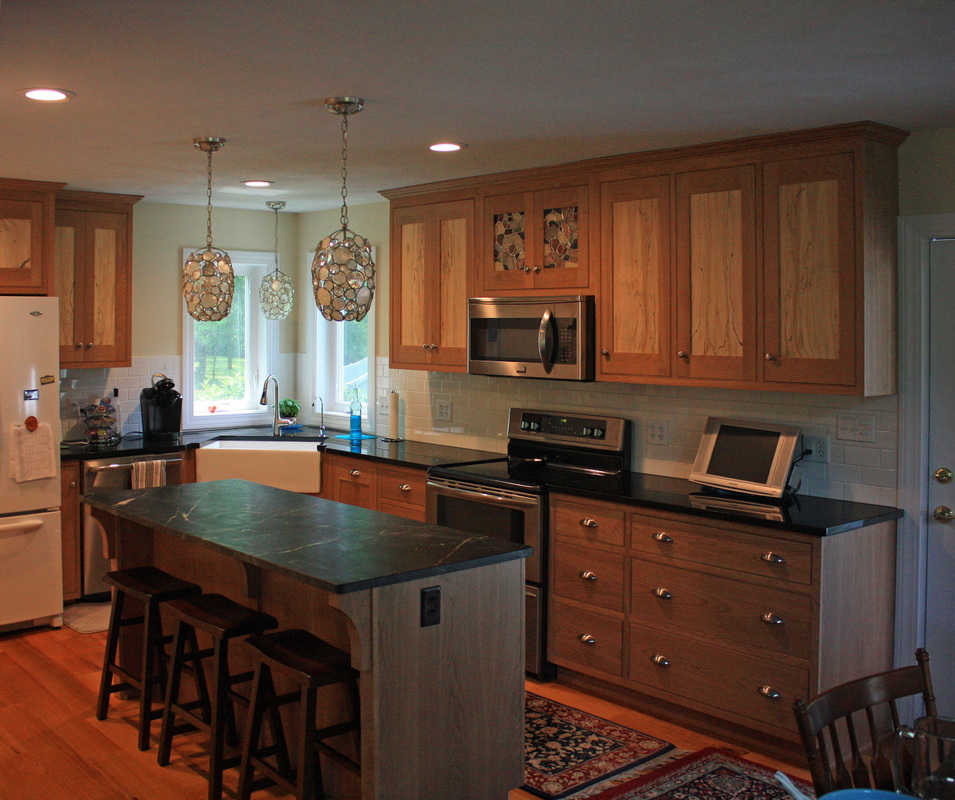This Custom Kitchen Features Cherry Door Frames With Spalted Maple Panels On Upper Wall Cabinets Solid Drawer Fronts